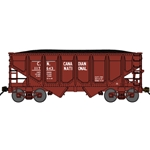 "USRA 30'6"" 2-Bay Panel-Side Hopper w/Load - Ready to Run Canadian National (Boxcar Red)"