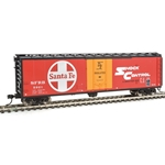 50' PC&F Insulated Boxcar - Ready to Run Santa Fe SFRB #5921 (red, orange, white, black; Shock Cont)