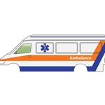 Ambulance (white, orange, blue)