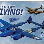 "P-38 Lightning ""Keep 'Em Flying!"" Metal Sign"